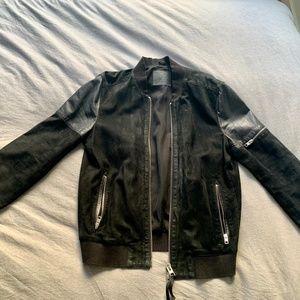 ALL SAINTS Suede/Leather Bomber Jacket MEDIUM